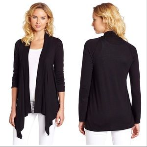 SPLENDID Black Jersey Wrap Asymmetrical Cardigan